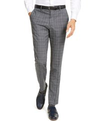 hugo men's slim-fit stretch charcoal plaid suit pants