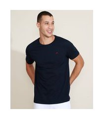 camiseta masculina básica com bordado manga curta gola careca azul marinho