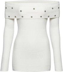 maglione con spalle scoperte e borchie (bianco) - bodyflirt boutique
