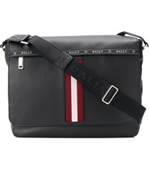 bally stripe detail oversized shoulder bag - black