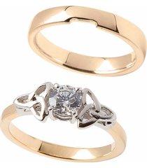 trinity diamond engagement & wedding ring set size 9