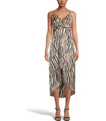 bar iii printed hammered satin twist-front midi dress, created for macy's