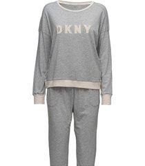 dkny new signature l/s top & jogger pj pyjamas grå dkny homewear