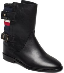 modern blanket wedge bootie shoes boots ankle boots ankle boots flat heel svart tommy hilfiger