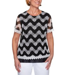 alfred dunner checkmate chevron lace knit top
