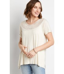 maurices womens oatmeal macrame neck top beige