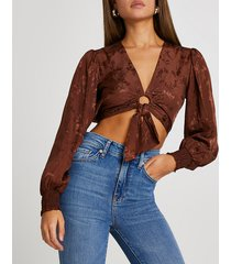 river island womens brown ring front tie blouse top
