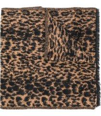 saint laurent animal print scarf - brown