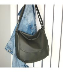 czarna listonoszka z klapą, damska torba worek xl