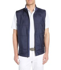 men's big & tall cutter & buck stealth quilted vest, size lt - blue
