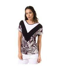 blusa t-shirt bloom mix de estampas