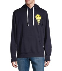 eleven paris men's smiley graphic heathered hoodie - navy - size xxl