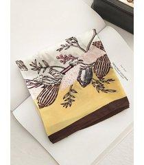 retro floral print satin square scarf