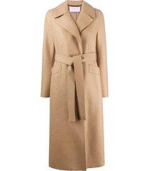 harris wharf london tie-waist wool trench coat - brown