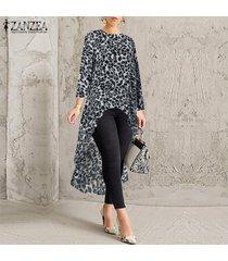 zanzea mujeres camiseta de manga larga leopardo asimétrico alto bajo la blusa de cuello redondo tops plus -gris