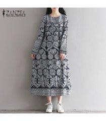 zanzea de mujer de manga larga de cuello redondo de gran tamaño maxi largo del vestido holgado partido kaftan (floral) -multicolor