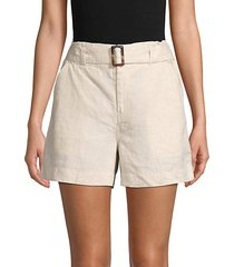belted linen shorts