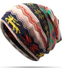 donna berretto bonnet in cotone comodo con stampa a righe multifunzione sciarpa collo