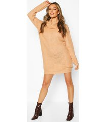 knitted cowl neck sweater dress, camel