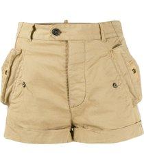dsquared2 mid-rise short shorts - neutrals