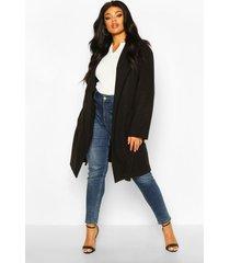 plus zware nepwollen duster wikkel jas, zwart