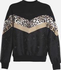 dolce & gabbana cotton blend sweatshirt with leopard print inlay