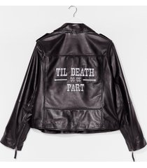 womens 'til death do us part bridal leather jacket - black