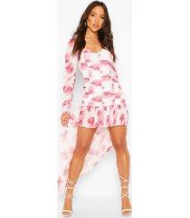geplooide mesh bloemenprint mini jurk met ruches, wit