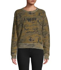 n:philanthropy women's camouflage cotton-blend sweatshirt - olive camo - size xs