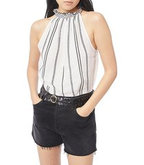 frame women's embroidered striped halter top - white - size l