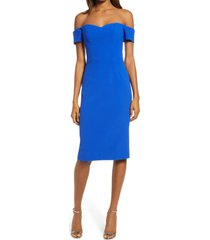 dress the population bailey off the shoulder body-con dress, size xx-large in electric blue at nordstrom