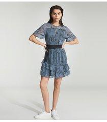 reiss dani - floral printed mini dress in blue, womens, size 14