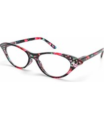 donna occhiali da lettura di stile occhi di gatto incorporati di diamanti