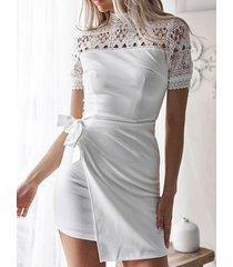 yoins encaje blanco hueco diseño corbata diseño vestido