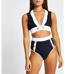 river island womens black high waisted button bikini briefs