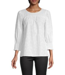 karl lagerfeld paris women's smocked puffed-sleeve blouse - soft white - size m