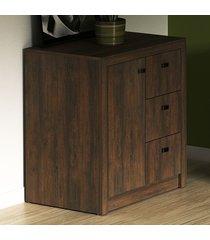 armário para escritório baixo 1 porta 3 gavetas me4111 rústico - tecno mobili