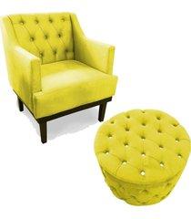 combo poltrona decorativa classica capitone com puff strass pés madeira suede amarelo
