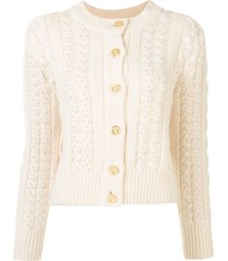 chanel pre-owned faux-pearl embellished knitted cardigan - white