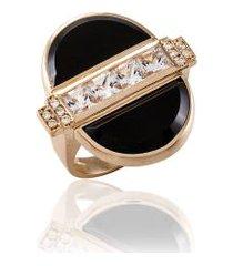 anel luna rosa c/ topazio white e quartzo negro - 17