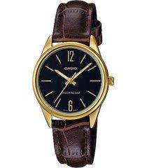 reloj casio ltp_v005gl_1b marrón cuero