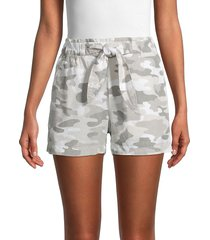 philosophy women's camo drawstring shorts - grey multi - size m