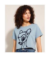 camiseta cropped de algodão bambi manga curta decote redondo azul