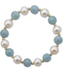 aquamarine (10mm) & cultured freshwater pearl (9-1/2mm) stretch bracelet in 14k gold (also in lapis lazuli)