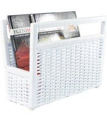 porta revisteiro cesto jornais livros fibra sintética 34x30x20 - branco - kanui