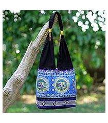 cotton blend shoulder bag, 'spiral and shine' (thailand)