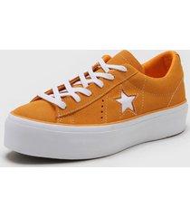 zapatilla naranja converse one star platform ox field