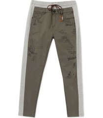 desigual men's nissim regular-fit mix-media colorblocked printed drawstring pants