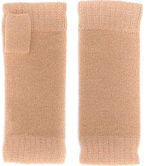n.peal fingerless cashmere gloves - neutrals