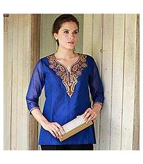 silk and cotton blend tunic, 'royal charm' (india)